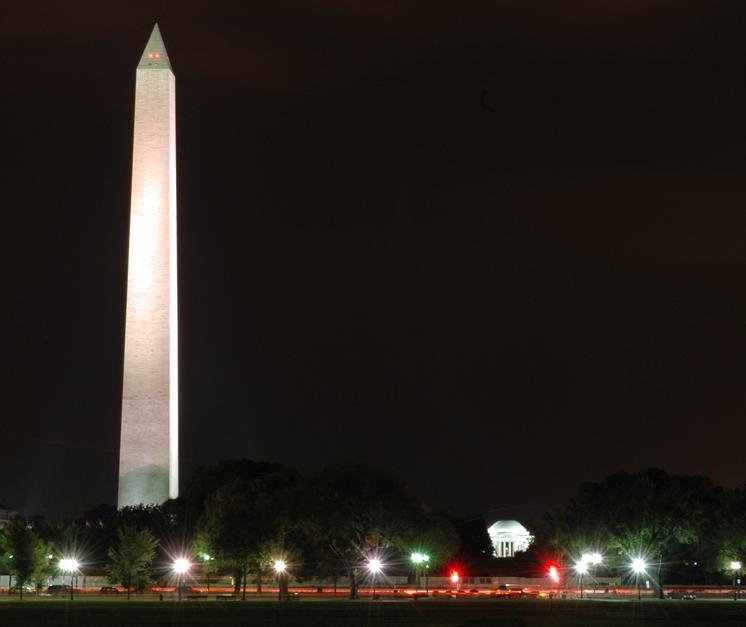 The Washington Monument and Thomas Jefferson Memorial fill the skyline of Washington, D.C. Image-U.S. Navy