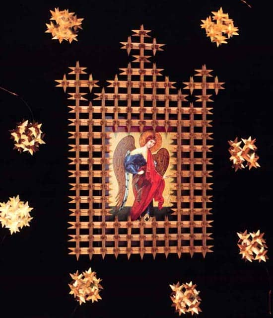 Crown of thorns style ornaments and icon frame, by Carol Gronn.