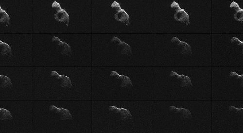 NASA scientists used Earth-based radar to produce these sharp views - an image montage and a movie sequence -- of the asteroid designated '2014 HQ124' on June 8, 2014. Image Credit: NASA/JPL-Caltech/Arecibo Observatory/USRA/NSF