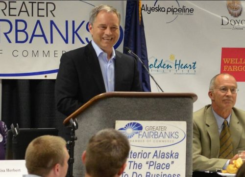 Governor Parnell speaking in Fairbanks and discussing funding for UAF powerplant. Image-State of Alaska