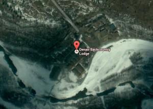 Aerial view of Denali Backcountry Lodge facilities. Image-Google maps