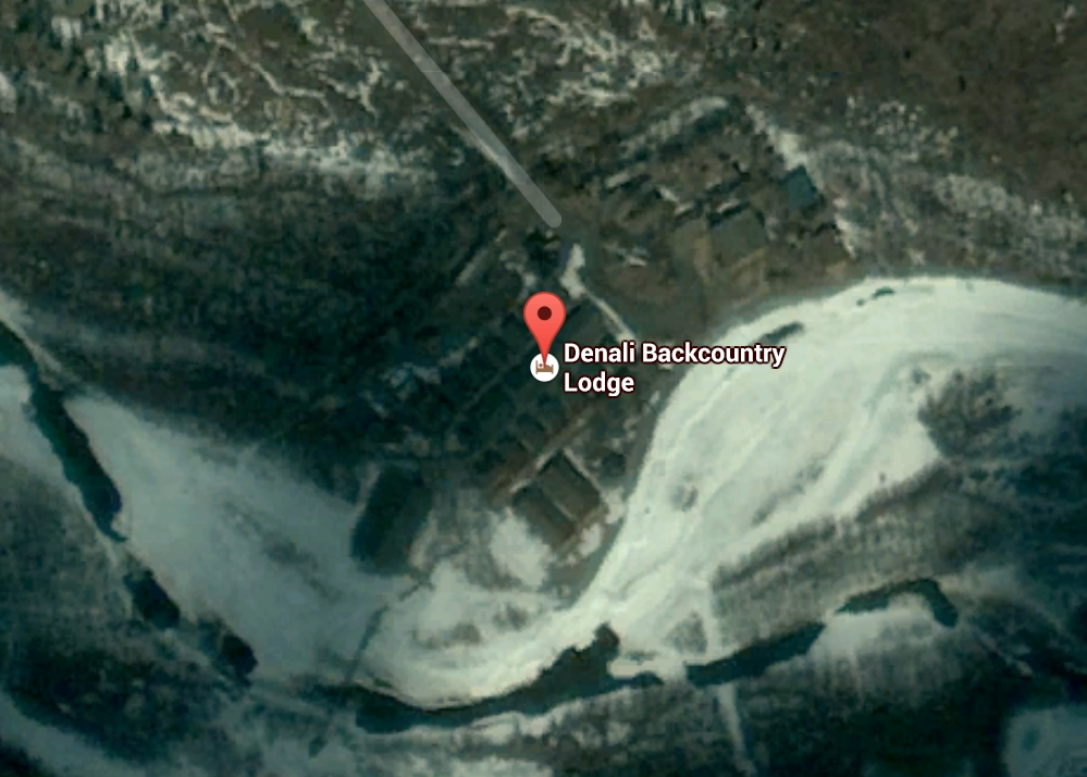 Aerial view of Denali Backcountry Lodge facilities. Image-Google maps