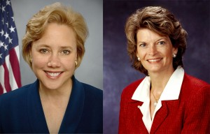 Homeland Security Subcommittee Chairwoman Senator Mary Landrieu, left, Senator Lisa Murkowski, right