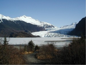 Mendenhall Lake suffered flooding due to a Glacial dam late this week. Image-April 2002 photo by Gillfoto/Wikipedia Commons