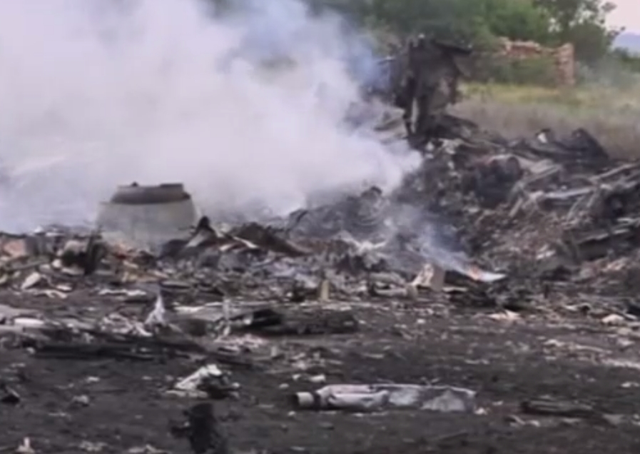 Wreckage of downed Malaysia Airlines MH17