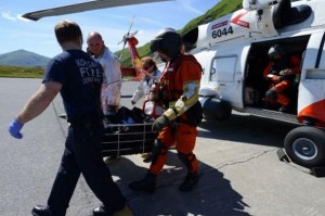 A Coast Guard aircrew medevaced the man from a cargo ship 160 miles east of Kodiak. (U.S. Coast Guard photo by Petty Officer 3rd Class Diana Honings.)