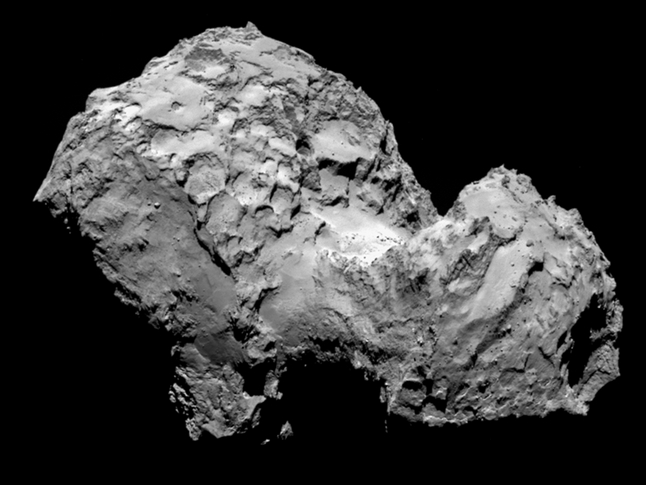 Comet 67P/Churyumov-Gerasimenko by Rosetta's OSIRIS narrow-angle camera on August 3, 2014, from a distance of 177 miles (285 kilometers).Image credit: ESA/Rosetta/MPS for OSIRIS Team MPS/UPD/LAM/IAA/SSO/INTA/UPM/DASP/IDA