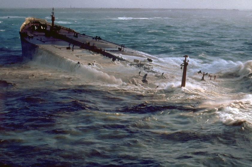 The Amoco Cadiz after it ran aground off the coast of France in 1978. Image-NOAA