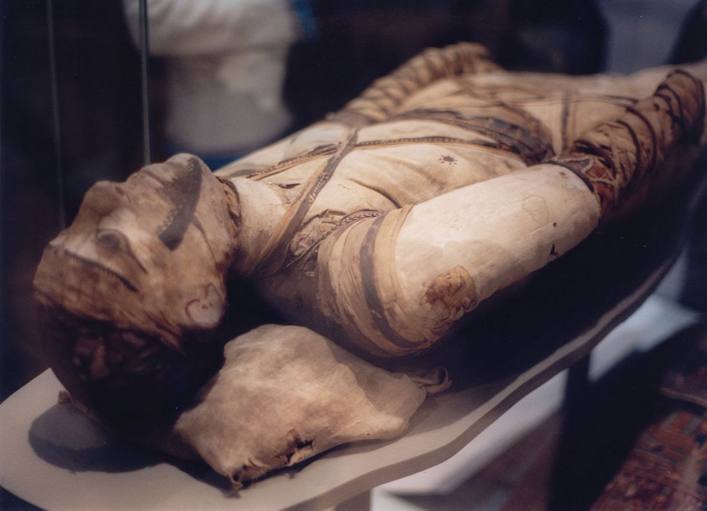 The mummification process like the process used on this mummy in the Egyptian collection in the London Museum has been found to have begun 1,500 years earlier than previously thought. Image Klafubra/Wikipedia