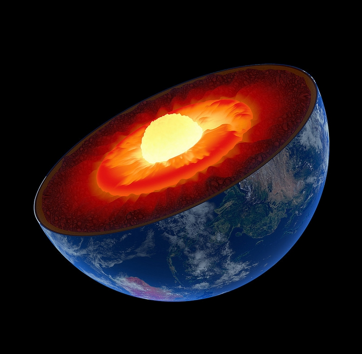 We live atop the thinnest layer of the Earth: the crust. Below is the mantle (red), outer core (orange), and finally inner core (yellow-white). The lower portion of the mantle is the largest layer – stretching from 400 to 1,800 miles below the surface. Image-Johan Swanepoel