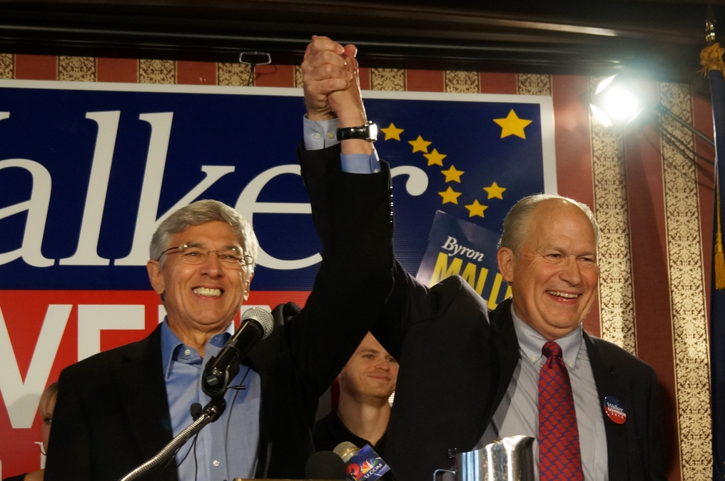Walker and Mallott joined forces on the Independent ticket to take on Parnell for the governor's seat. Image-Walker campaign