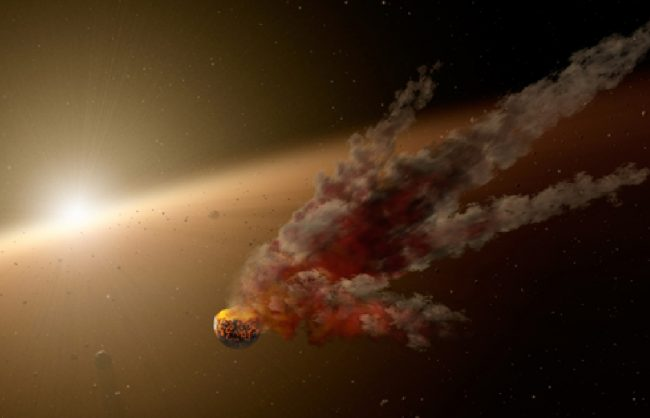 This artist's concept shows the immediate aftermath of a large asteroid impact around NGC 2547-ID8, a 35-million-year-old sun-like star thought to be forming rocky planets. Image credit: NASA/JPL-Caltech
