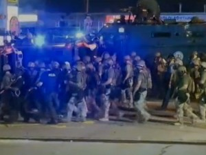 Police in Ferguson, dressed in combat gear during demonstrations there last month.