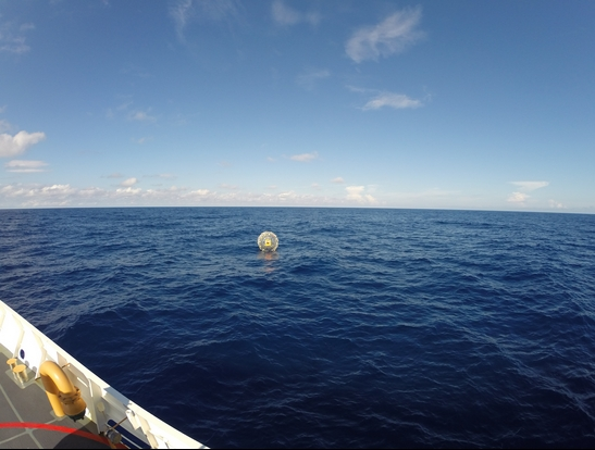 The Coast Guard Cutter Bernard C. Webber arrives on scene off the coast of Miami to respond to a report of a man aboard an inflatable hydro bubble who was disoriented asking for directions to Bermuda Oct. 1, 2014. The man was later rescued on Oct. 4, 2014, after he activated his personal indicating radio beacon upon suffering from exhaustion. U.S. Coast Guard photo.