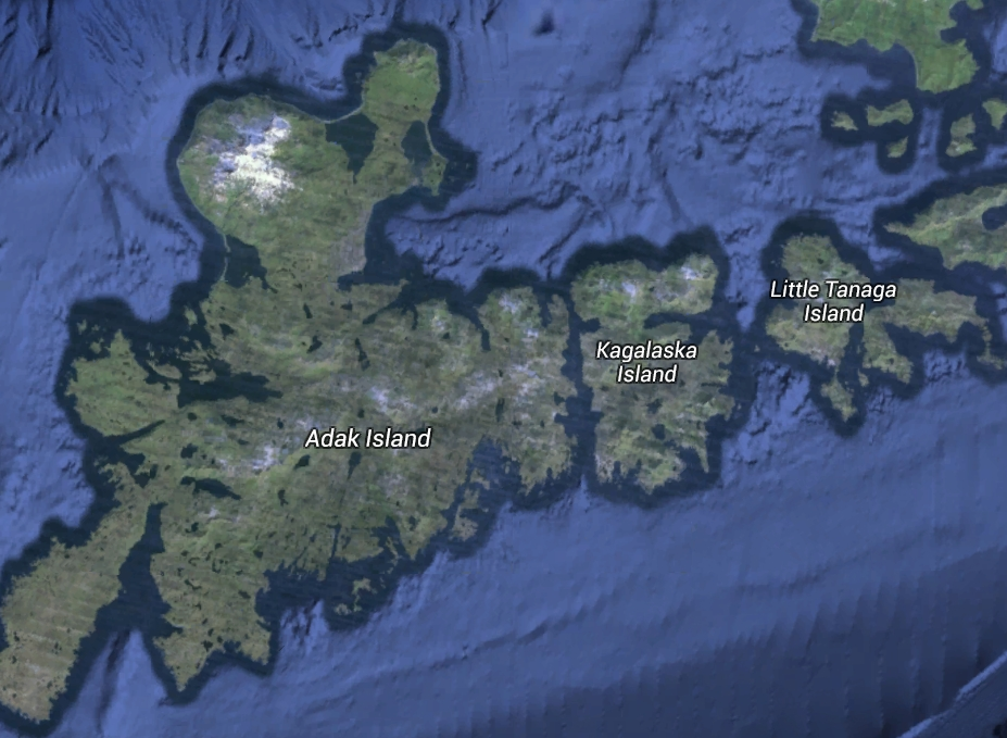 Because of the relative closeness of Kagalaska Island to Adak Island, Caribou have begun migrating to new territory. Image-Google Maps