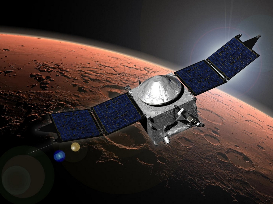 This image shows an artist concept of NASA's Mars Atmosphere and Volatile Evolution (MAVEN) mission. Image Credit: NASA/GSFC