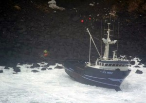 F/V Icy Mist, grounded on Akutan Island in February, 2009. Image-USCG