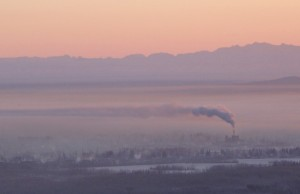 Carbon dioxide emissions, like these from a Fairbanks coal-burning plant, have accelerated worldwide in the recent past. Photo by Ned Rozell.