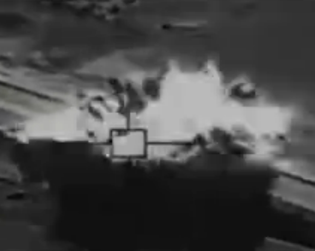 Airstrike, part of Operation Inherent Resolve hitting ISIS vehicle.