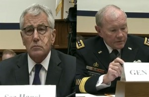 Secretary of Defense Chuck Hagel (left) and Chairman of the Joint Chiefs of Staff Martin Dempsey (Right)