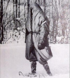 A sleeping bag that allowed the user to walk around in a survival situation was one of the developments of the Arctic Aeromedical Laboratory, a Cold War research unit in Fairbanks.  Arctic Aeromedical Laboratory photo