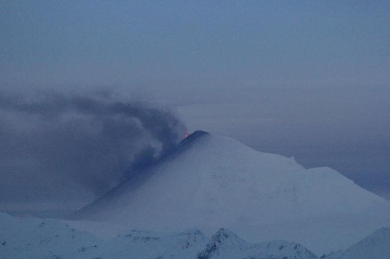 Pavlof in eruption as viewed from Cold Bay on the evening of November 12, 2014. Image-Carol Damberg