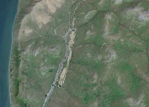 Aerial view of Platinum Creek mining operations in Southwest Alaska. Image-Google Earth