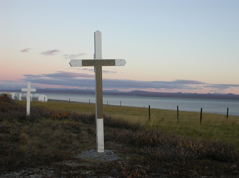 The site of a mass grave in Brevig Mission, Alaska, where 72 people were buried following their deaths during the Spanish flu breakout of 1918.  Photo by Ned Rozell.