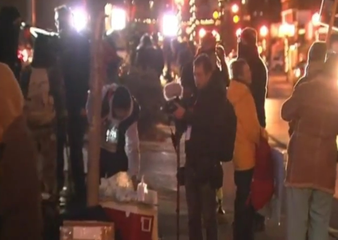 Demonstrators gathered in Ferguson after Grand Jury decision.