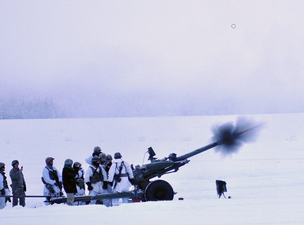 A 105mm howitzer firing from Malemute Drop Zone on JBER. Photo credit: US Army/John Pennell