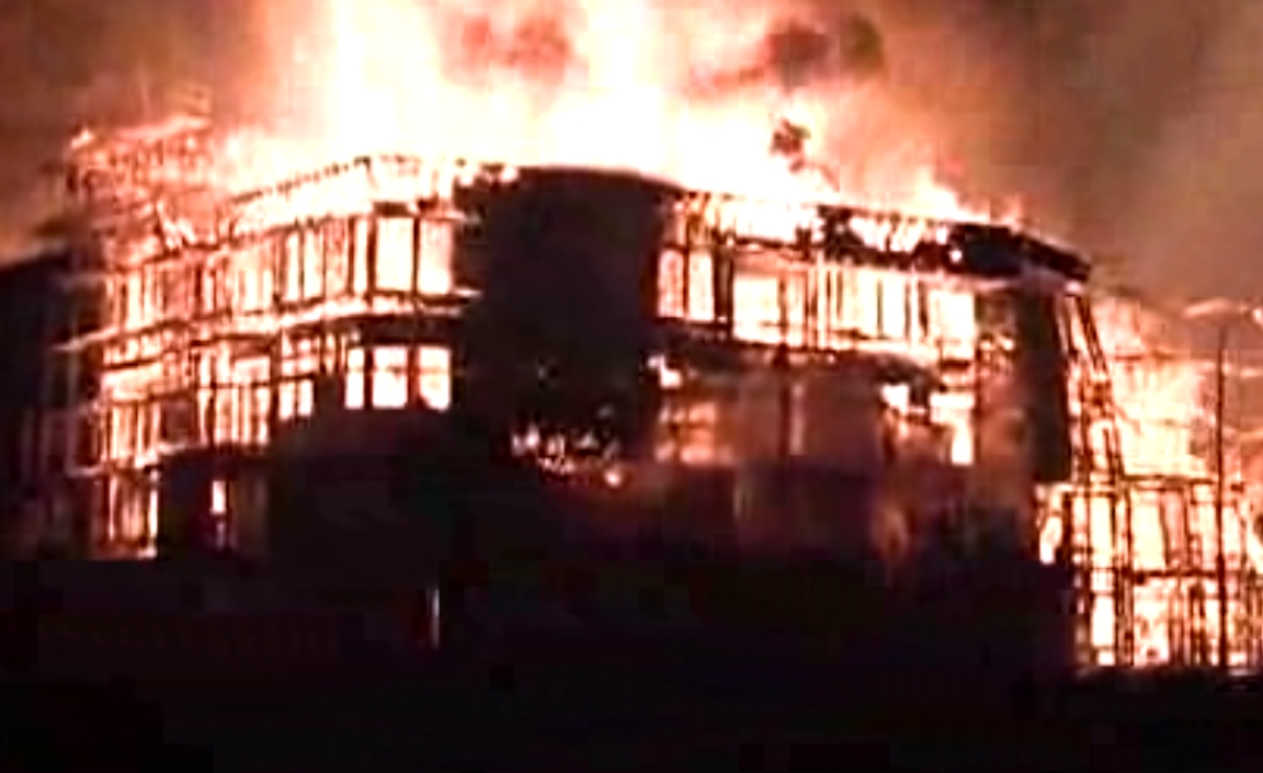 The huge fire in downtown L.A destroyed a luxury apartment building and damaged two others,