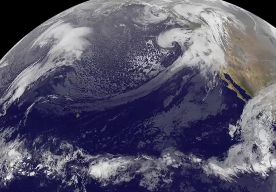 "Violent rain storms pouring moisture on the ""Pineapple Express"" jet stream into California in mid-December.Image Credit: NASA/NOAA GOES Project, Dennis Chesters"