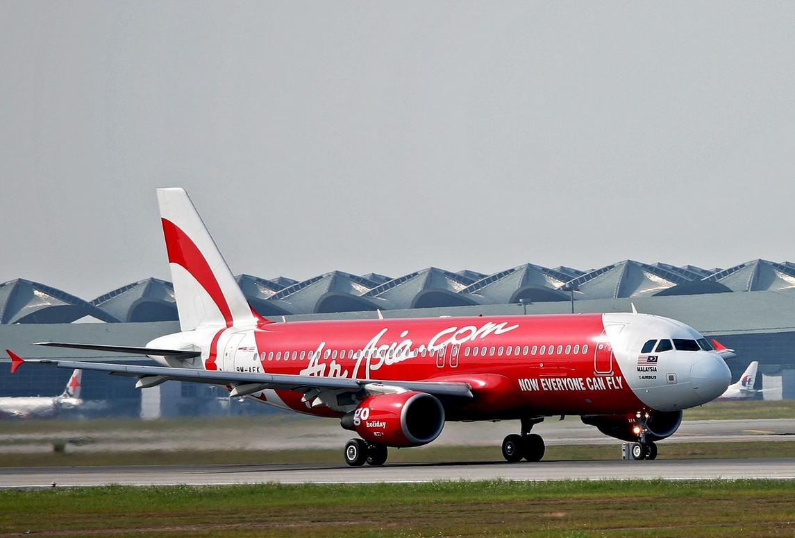 AirAsia jet on the tarmac preparing to depart in Kuala Lumpur.