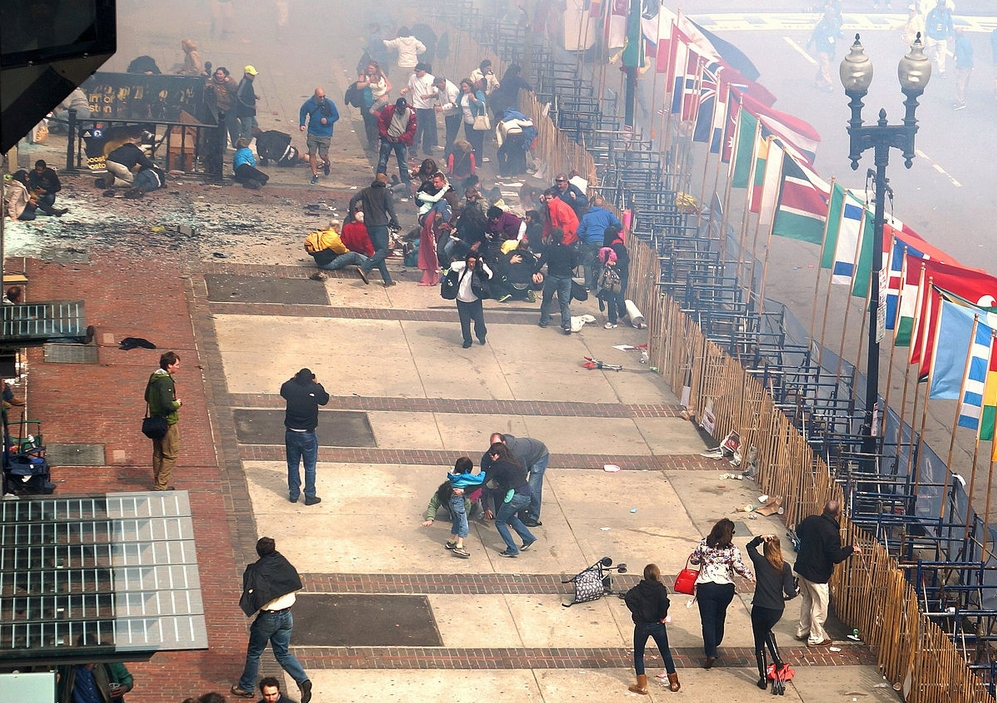 Scene at the Boston Marathon moments after the explosion. Image Aaron Tang/creative commons