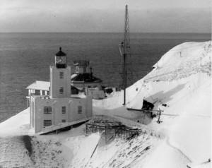 Scotch Cap Lighthouse, on the southwest shore of Unimak Island, before the giant wave of April 1, 1946. NOAA/NGDC, Coast Guard photos