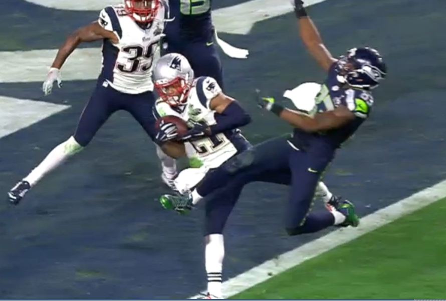 Patriot Malcolm Butler dashed any hope of a Seahawk win with his interception with less than 30 seconds on the clock Sunday afternoon. Image-NBC Sports