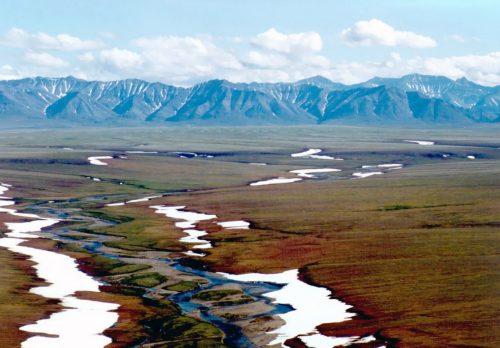 Area of the Arctic National Wildlife Refuge coastal plain, looking south toward the Brooks Range mountains. Image-USFWS