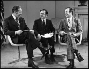 Congressman Don Young, Senator Ted Stevens, and Governor Jay Hammond discussing national fisheries legislation in 1975