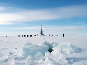 On June 5, 2001, the USS Scranton surfaced at the North Pole through almost four feet of ice. The new study uses submarine records to help track decades of thinning.U.S. Navy