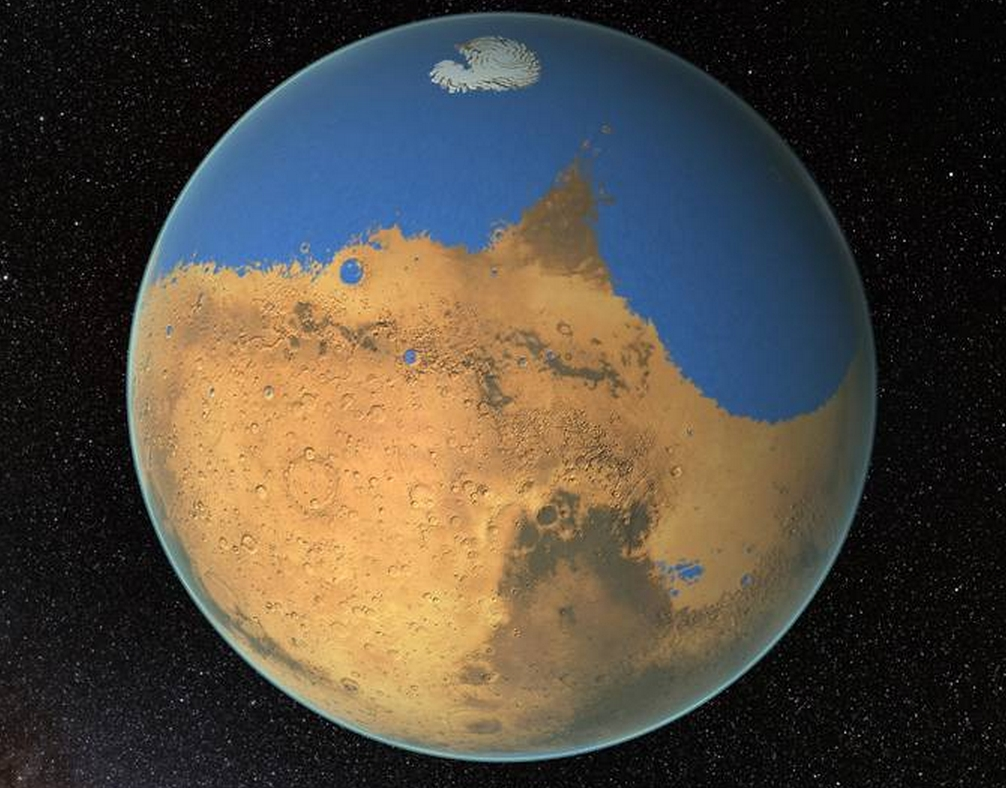 NASA scientists have determined that a primitive ocean on Mars held more water than Earth's Arctic Ocean and that the Red Planet has lost 87 percent of that water to space. Image Credit: NASA's Goddard Space Flight Center