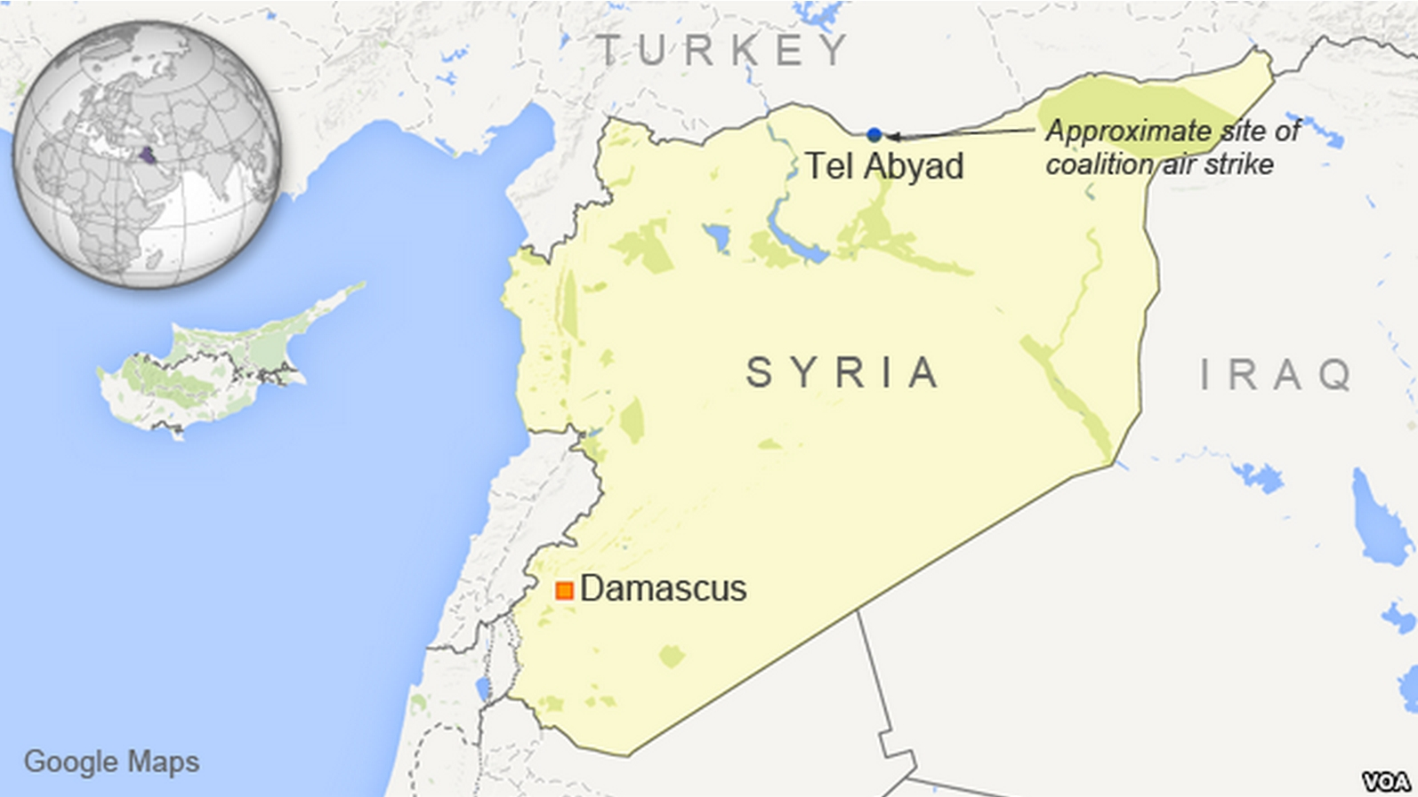Map showing approximate site of coalition air strike near Tel Abyad, Syria