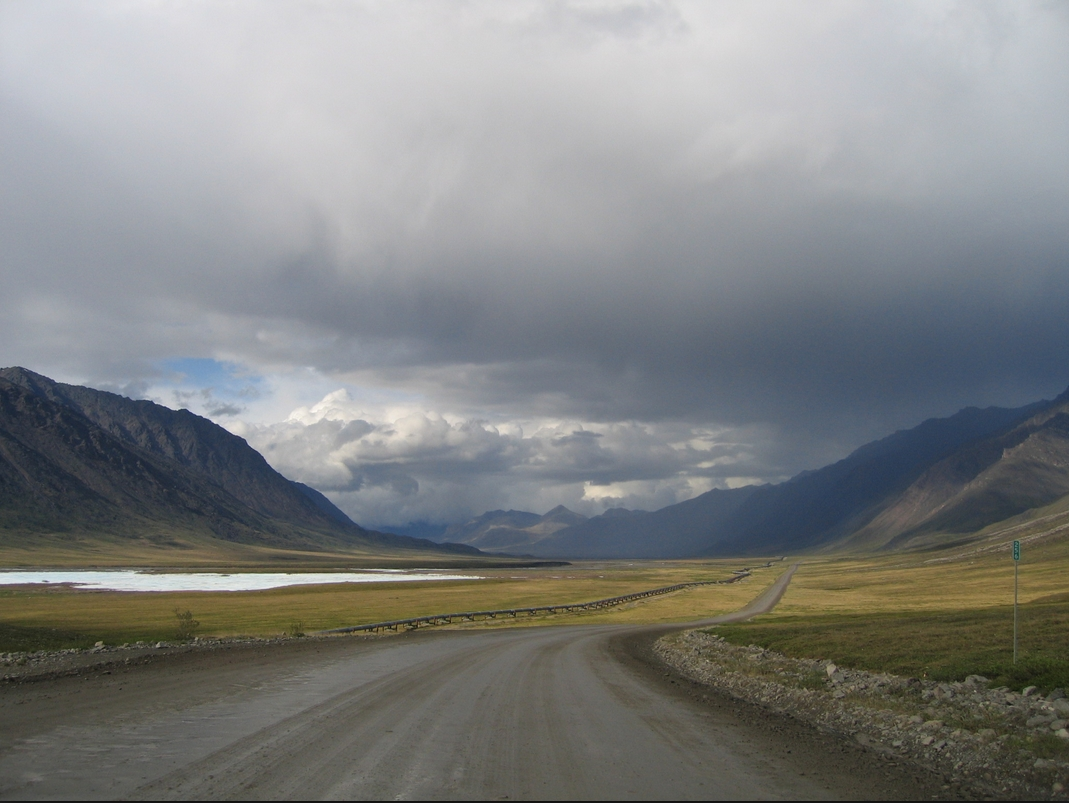 Mile 256 on the Dalton Highway, north of the Continental Divide in the Brooks Range, Alaska. Photo by Micah Bochart