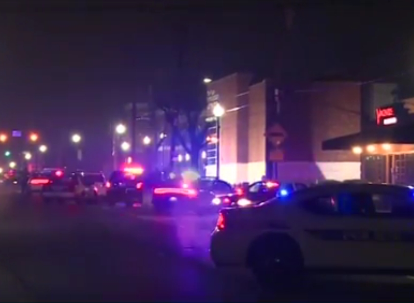 Police presence following the shooting of two police officers in Ferguson on Thursday