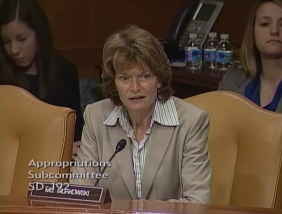Senator Murkowski speaking to Admiral Syring at the Appropriations Subcommittee hearing on Wednesday. Image-Senator Murkowski
