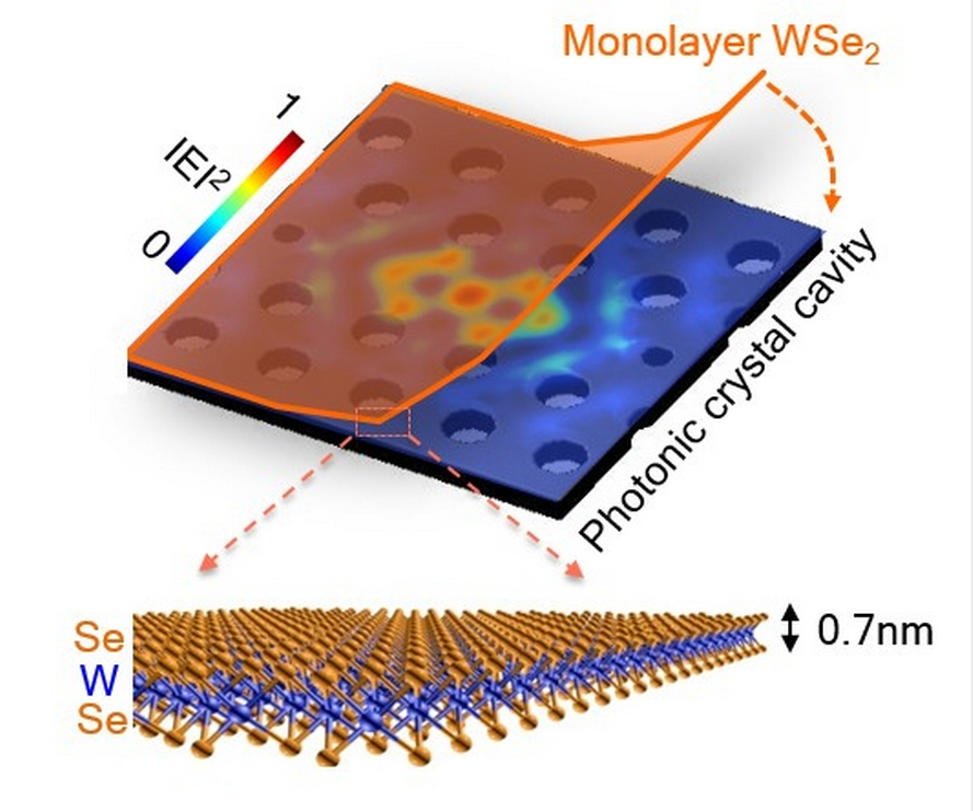 The ultra-thin semiconductor, which is about 100,000 times thinner than a human hair, stretches across the top of the photonic cavity.U of Washington