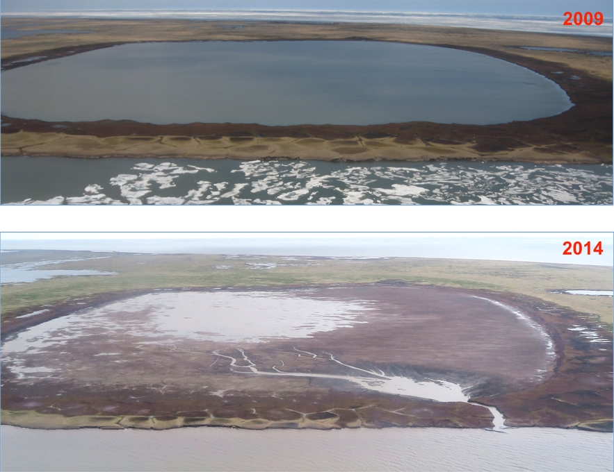 A lake on the shore of the Beaufort Sea that drained on July 5, 2014. Images courtesy of Ben Jones.