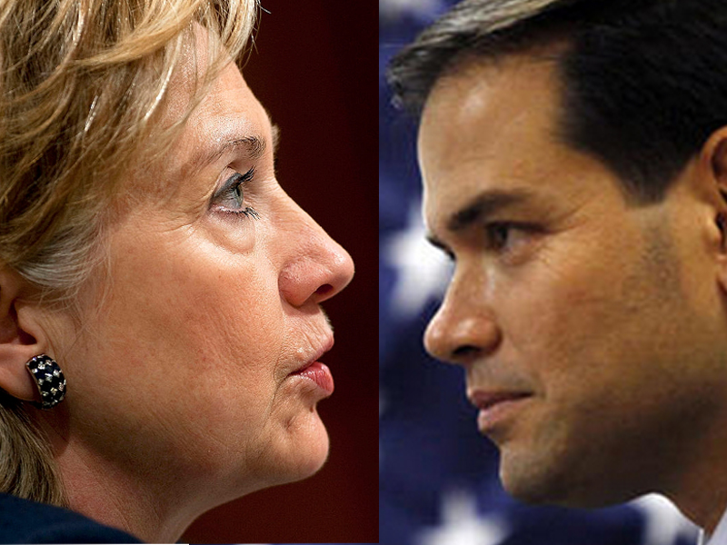 It could come down to Hillary Clinton (L) and Marco Rubio in the 2016 Presidential Election