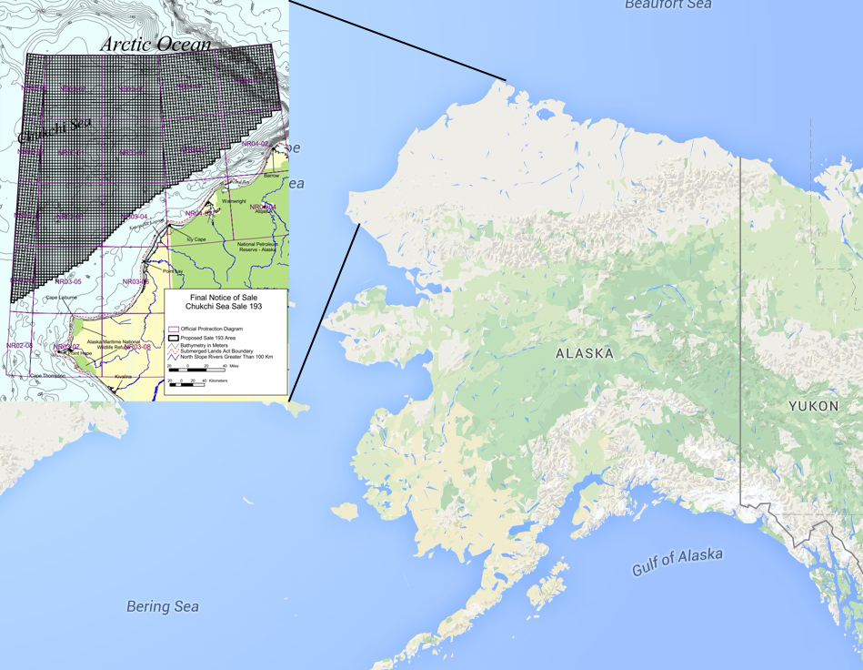 Map showing area of Chukchi Sea OCS Oil and Gas Lease Sale 193.