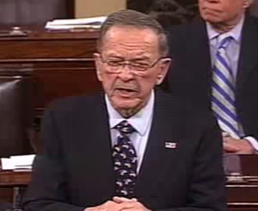 Former Senator Ted Stevens making his farewell speech in the U.S. Senate