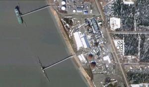 Satellite view of Nikiski's agrium fertilizer plant on the Kenai Peninsula. Image-Google Maps